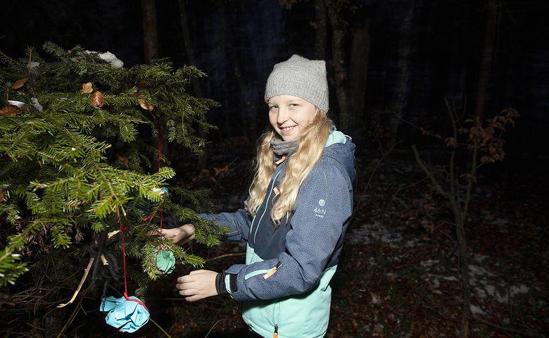 Am Ende ist der Baum festlich dekoriert und aus dem magischen Buch ertönt die Stimme des Samichlaus.